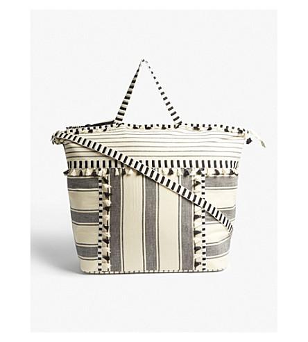 DODO BAR OR Lydia stripe print large cotton tote bag (Black