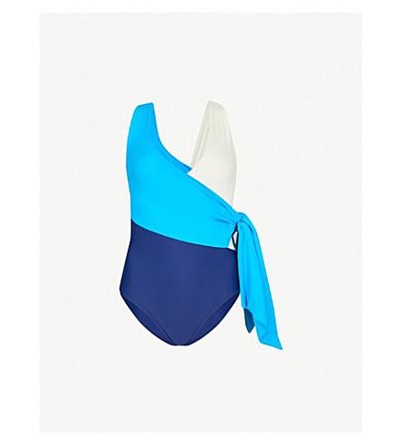 PAPER LONDON Copacabana wrap swimsuit (Turchese+night