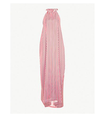 PAPER LONDON Ipanema striped silk-twill maxi dress (Red+white