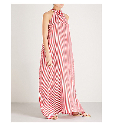 PAPER LONDON Ipanema striped silk-twill maxi dress (Red+white