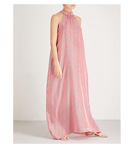 PAPER LONDON 依帕内玛条纹真丝斜纹马克西连衣裙 (红白
