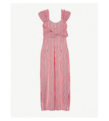 PAPER LONDON Palermo striped silk-twill jumpsuit (Red+white