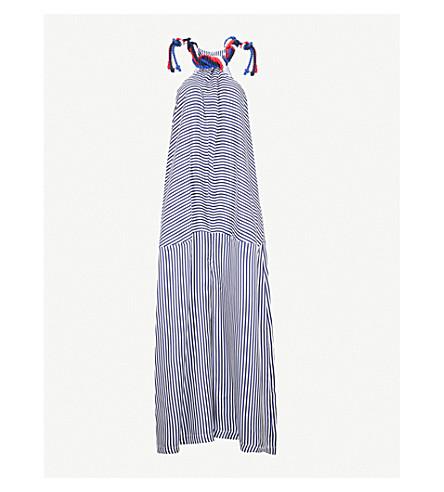 PAPER LONDON 波利尼西亚条纹丝绸斜纹裤 (海军 + 白色