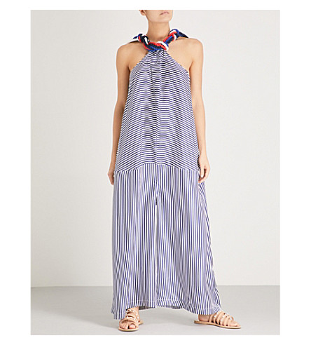 PAPER LONDON Polynesia striped silk-twill jumpsuit (Navy+white
