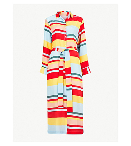 ASCENO Striped silk-crepe de chine shirt dress (Multi bold stripe