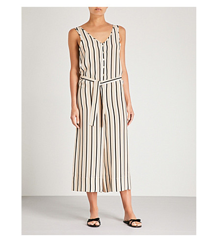 ASCENO Striped silk-crepe de chine jumpsuit (Neutral twin stripe
