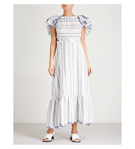 GUL HURGEL Ruffled off-the-shoulder linen midi dress (Blue+stripes