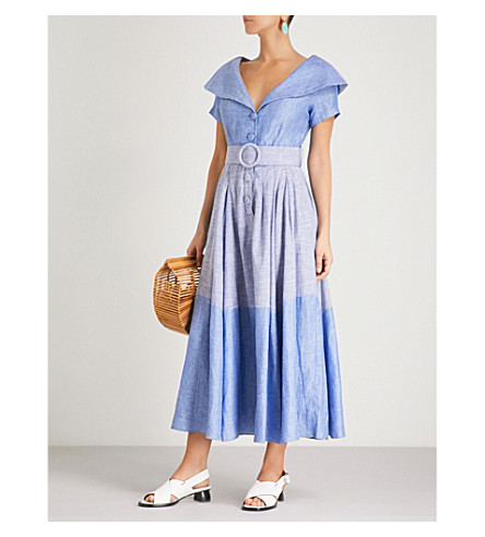 GUL HURGEL Belted linen and cotton-blend midi dress (Light and dark blue
