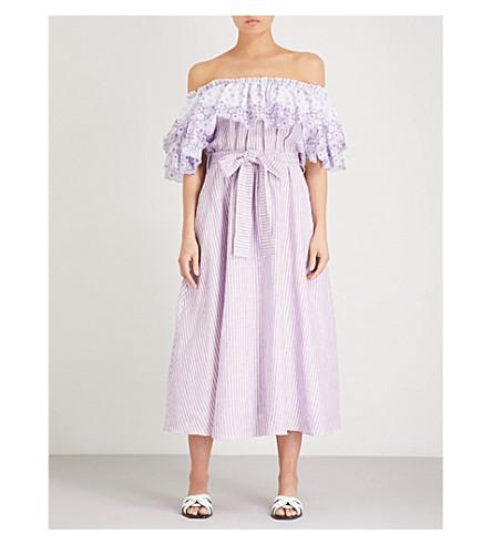 GUL HURGEL Ruffled off-the-shoulder linen midi dress (Purple+stripe