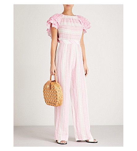 GUL HURGEL Ruffled off-the-shoulder linen jumpsuit (Pink+stripes