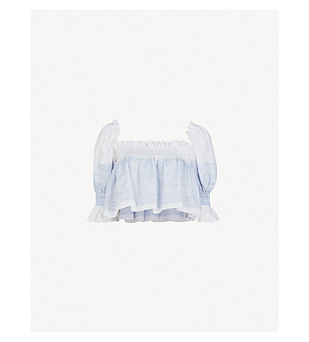 GUL HURGEL Ruffled linen and cotton-blend cropped top (Blue+stripes