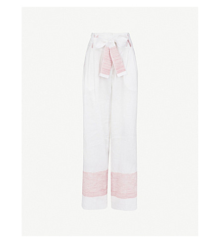GUL HURGEL High-rise wide linen and cotton-blend trousers (Red+stripe