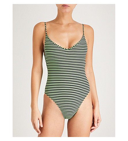 LES GIRLS LES BOYS Stripe swimsuit (Pea+black