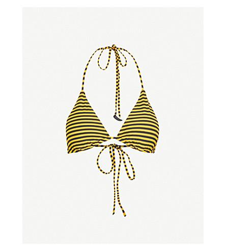 LES GIRLS LES BOYS Stripe triangle bikini top (Gold+black