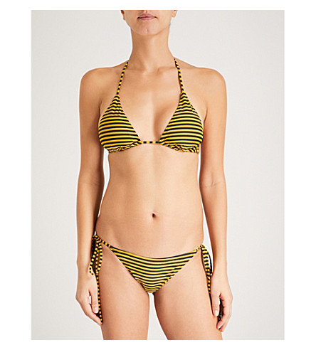 LES GIRLS LES BOYS Stripe triangle bikini top (Gold+black