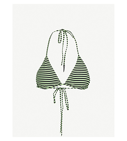 LES GIRLS LES BOYS Stripe triangle bikini top (Pea+black