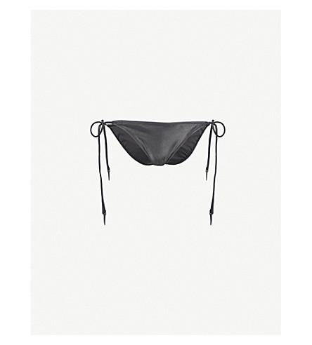 LES GIRLS LES BOYS Wetlook tie-side bikini bottoms (Black