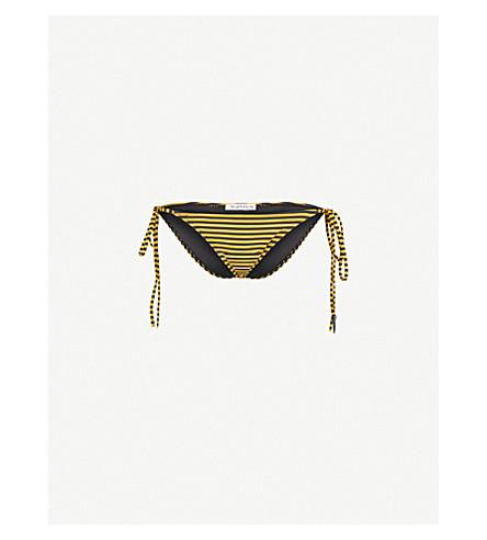 LES GIRLS LES BOYS Stripe tie-side bikini bottoms (Gold+black