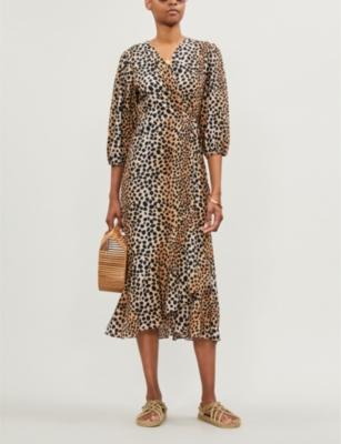 Noleen leopard-print wrap-front cotton midi dress