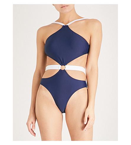 ALEXANDRA MIRO Gigi halterneck swimsuit (Navy+white