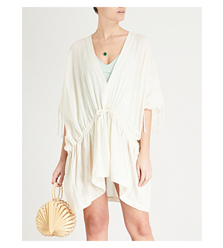 SU PARIS Dita cotton-blend kaftan (Ecru