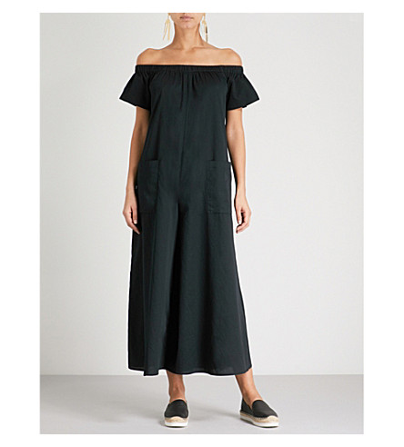 MARA HOFFMAN Blanche off-the-shoulder cotton jumpsuit (Black
