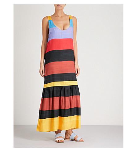 MARA HOFFMAN Valentina striped woven maxi dress (Blk+multi