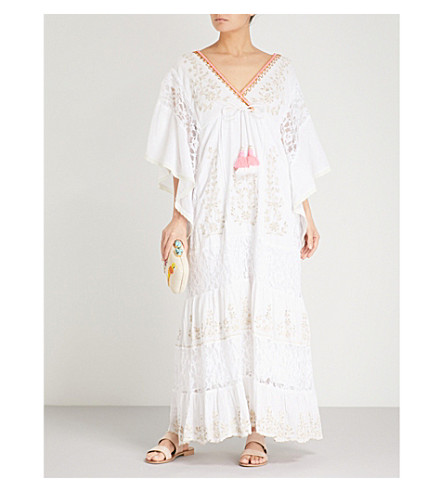 LAS NOCHES IBIZA Biba cotton kaftan (White
