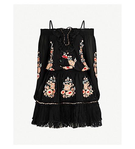 LAS NOCHES IBIZA Cecilia off-the-shoulder georgette dress (Black