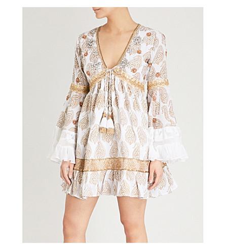 LAS NOCHES IBIZA Pearl cotton dress (White