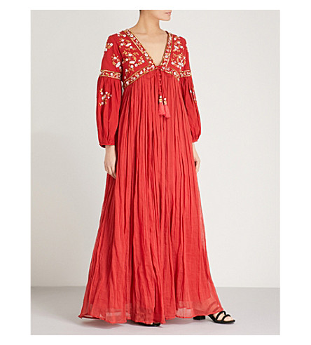 LAS NOCHES IBIZA Tiger Pearl embellished cotton-gauze maxi dress (Red