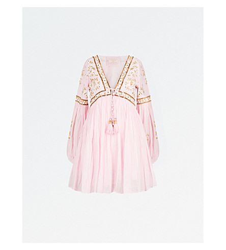 LAS NOCHES IBIZA Tiger Pearl embellished cotton-gauze dress (Pink+light