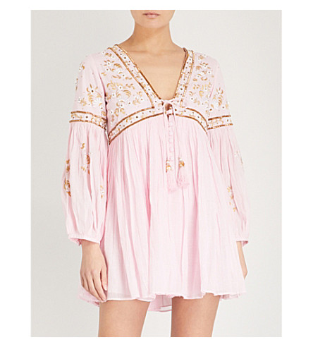 LAS NOCHES IBIZA Tiger Pearl embellished cotton-gauze dress (Pink+light