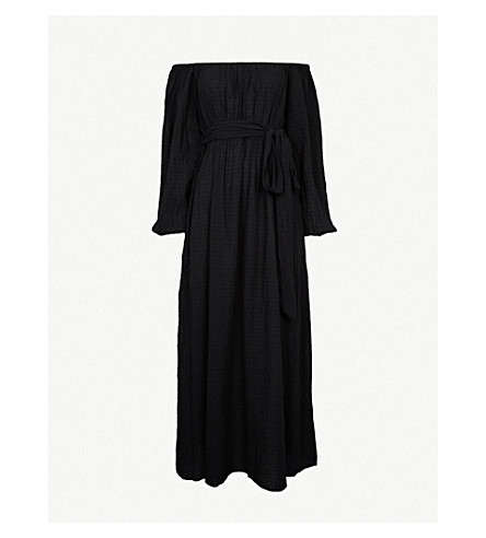 MARA HOFFMAN Malika off-the-shoulder organic-cotton cover-up (Black