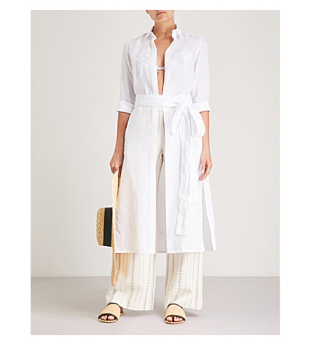 Vanessa shirt PDN linen belted dress linen LONDON PDN White LONDON Vanessa qaI4xHwAO