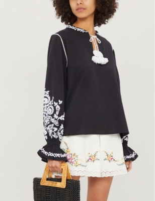 Rubia cotton and linen-blend blouse