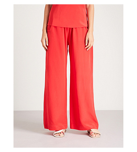 WORME The Standard Flare flared silk crepe de chine trousers (Red