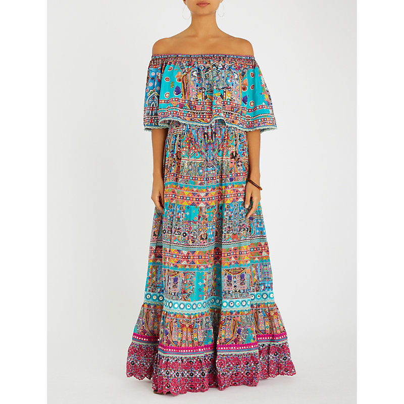 Canvas of Colour off-the-shoulder silk maxi dress