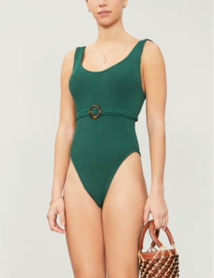 Solitaire scoop-neck high-leg swimsuit