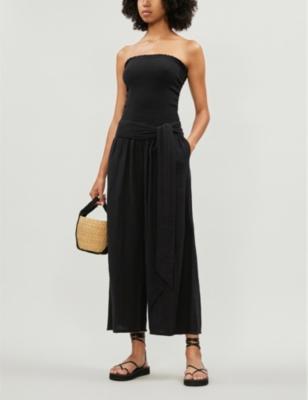 Kai wide-leg cotton-muslin jumpsuit