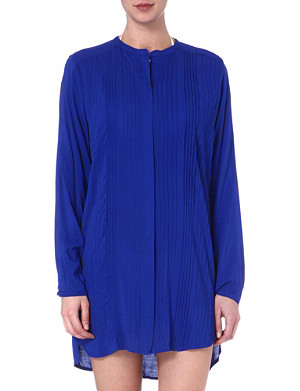 VIX Solid blue pleated shirt