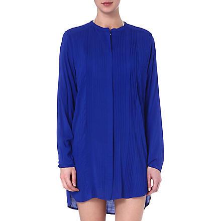 VIX Solid blue pleated shirt (Blue
