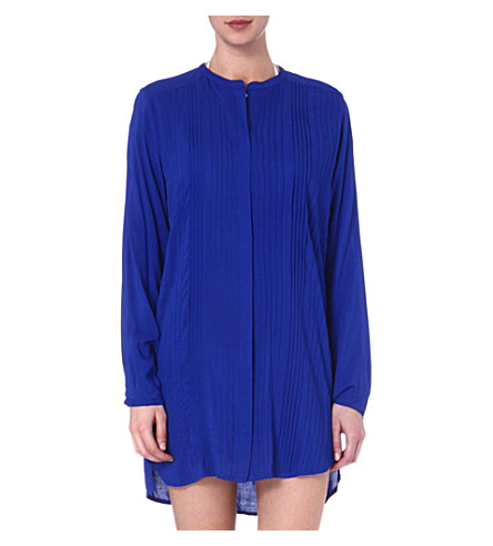 VIX Solid blue pleated shirt (Blue
