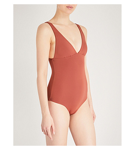 SEAFOLLY Active V-neck swimsuit (Burnt+amber