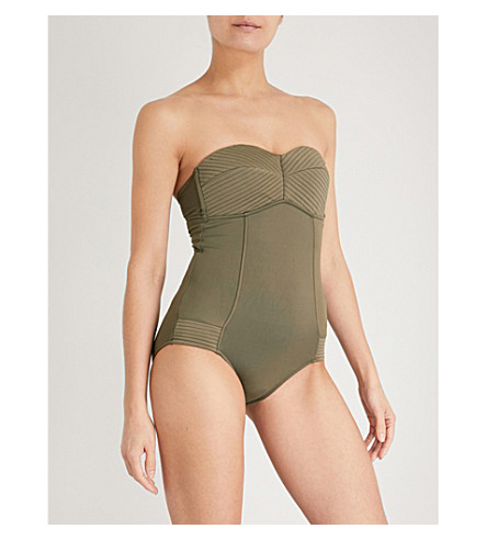 SEAFOLLY Quilted bandeau swimsuit (Dark+olive