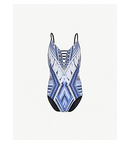 SEAFOLLY Desert Tribe V-neck swimsuit (Bluestone