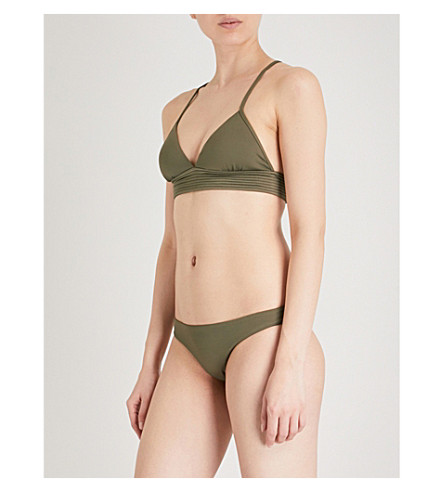 SEAFOLLY Quilted triangle bikini top (Dark+olive