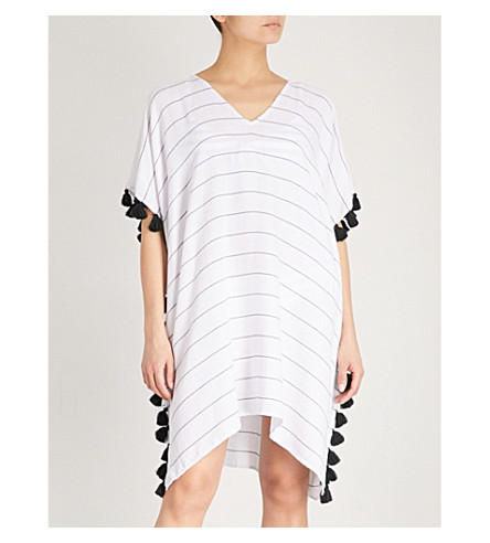SEAFOLLY Modern Love cotton-blend kaftan (Black+white