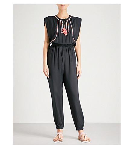SEAFOLLY 棕榈海滩绣花编织的连体裤 (黑色