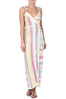 MISSONI Crochet knit wrap maxi dress